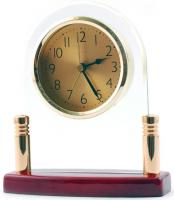 Wood and Perspex Analog Desk Clock with Rosewood Base