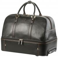 Double decker leather trolly bag