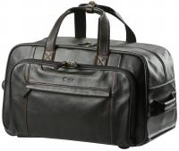 Seamed leather trolley bag