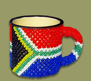 Beaded SA Flag Tin Mug