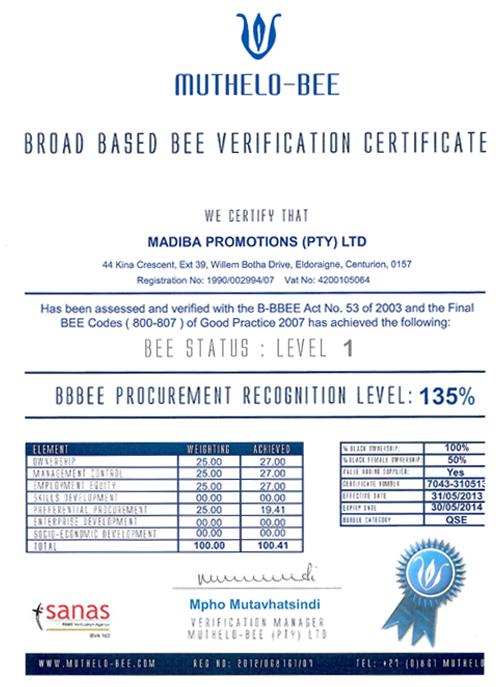 Bbbee Certificate